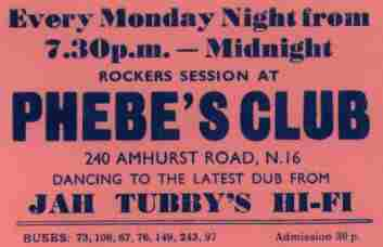 Jah Tubbys @  Phebes every Monday